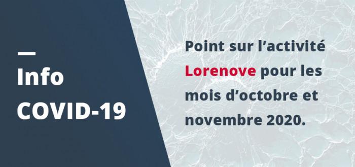 COVID 19 : Les activités de Lorenove pour les mois d'octobre et novembre 2020